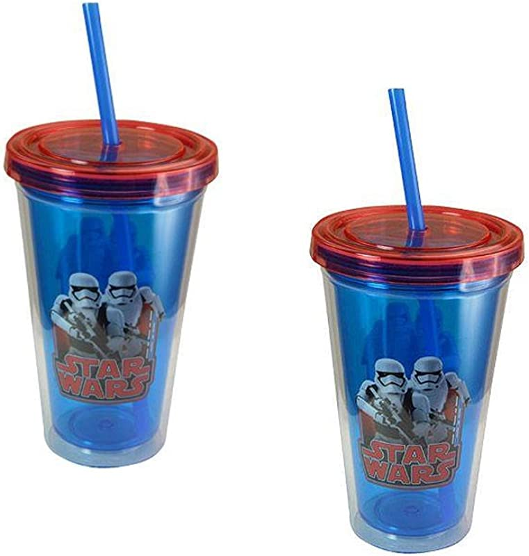 Zak Designs Star Wars Stormtroopers 16 5 Ounce Double Wall Tumblers With Lids And Straws 2 Pack