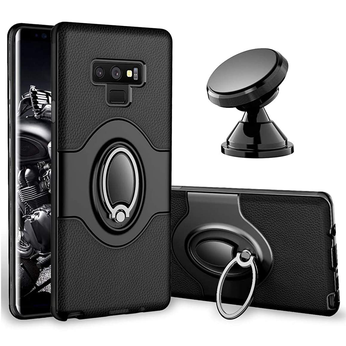 Samsung Galaxy Note 9 Case - eSamcore Ring Holder Kickstand Cases + Dashboard Magnetic Phone Car Mount [Black] q39639618630