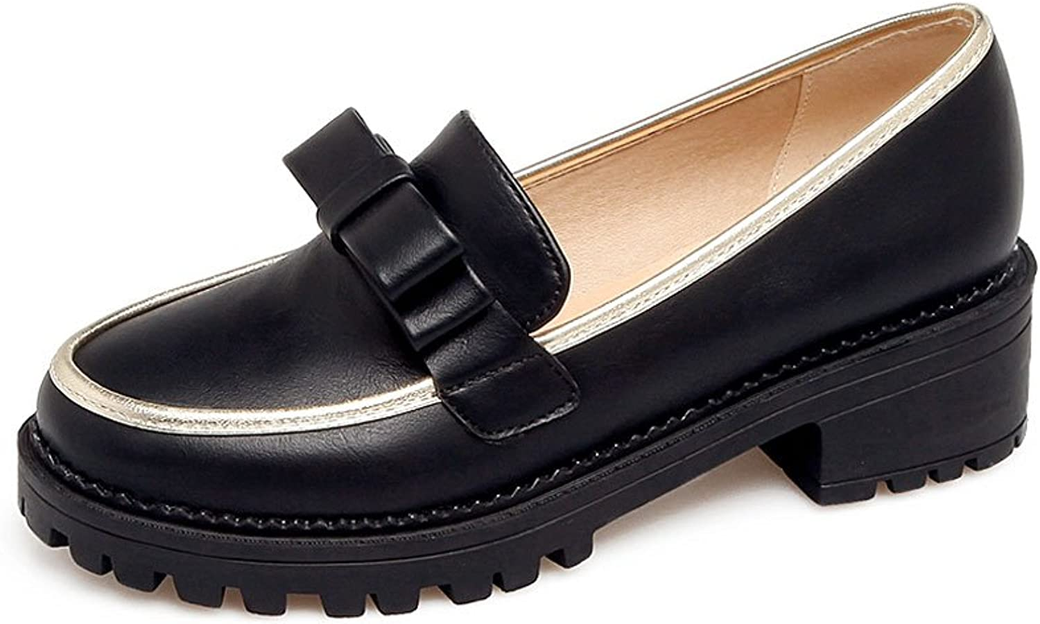 DoraTasia Simple British Campus Bow-Knot Slip on Bling Edge Platform Oxford Loafers shoes