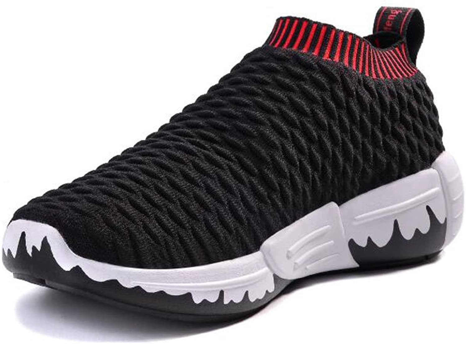 Men women Knit Sneakers Spring Summer Comfort Athletic shoes Walking shoes Couples Low Top Mesh Running shoes Casual shoes (color   Black, Size   43)