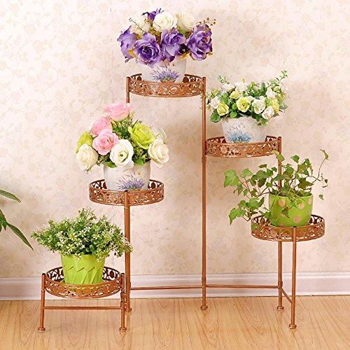 LLLXUHA Art de fer Métal 5 casier de bassin Support de fleurs, Européen Multi-couche Type de plancher Présentoir, salon Débris Rack de stockage, 21 * 68 * 116cm , Or