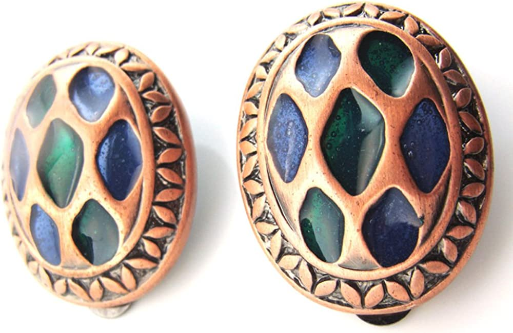 Blue & Green Mosaic Translucent Oval Clip On Earrings