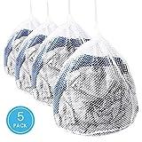Wäschesack, ASANMU 5 Stück Wäschebeutel Waschmaschine mit Kordelstopper, Wiederverwendbare Netzbeutel für Wäsche, Schutz Waschnetz, Waeschesack für Babywäsche, Unterwäsche, Socken (Zellular Mesh)