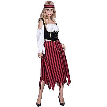 EraSpooky Mujer Largo Rayas Pirata Carnaval Disfraz: Amazon.es ...