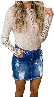 SportsX Women Plain Lace Hem Hollow Out Blouse Sexy Button Down Tees