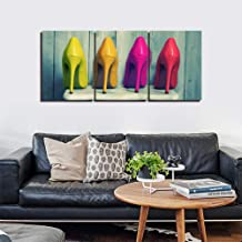 GHTAWXJ 3 panel Canvas Prints Wall Art Paintings Color High-Heeled Shoes For Women Bedroom Wall Art Decor 3 Pieces Panel Artwork Picture