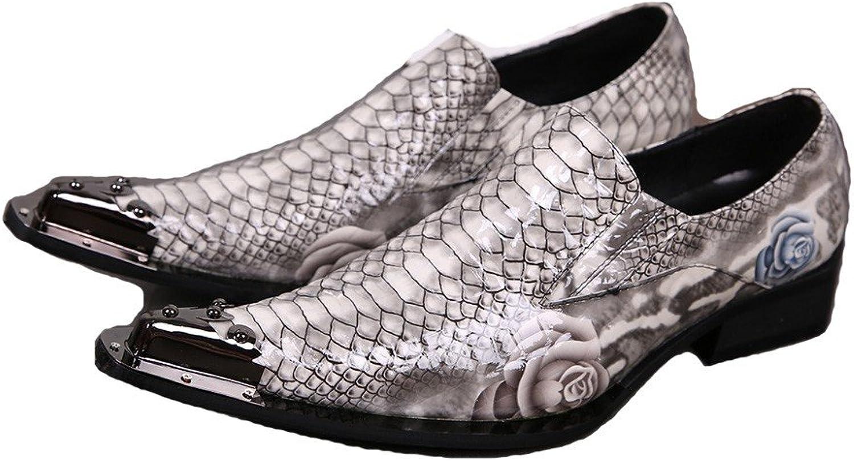 US Size 5-12 Slip On Alligator Print Leather Metal Toe Dress Mens Loafers shoes