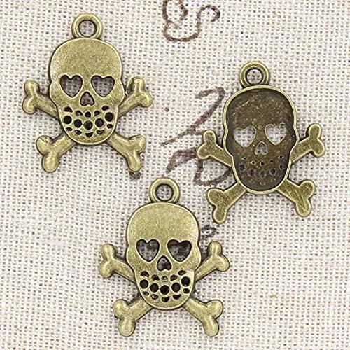 FGHHT 8pcs encantos cráneo Esqueleto 25x21 mm Colgante Antiguo Ajuste, Bronce Tibetano Vintage, Bricolaje para Hecho a Mano