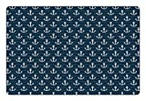 Lunarable Nautical Pet Mat for Food and Water, Anchor Pattern Marine Themed Symmetric Adventure Cottage Ship Boat Motif, Non-Slip Rubber Mat for Dogs and Cats, 18' X 12', Petrol Blue