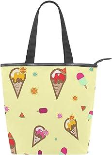 TropicalLife JinDoDo Handtasche mit Reißverschluss, Segeltuch, Obst, Eis, Wassermelone, Orange