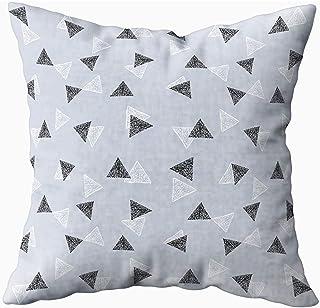 Ducan Lincoln Pillow Case 2PC 18X18,Funda De Almohada Suave,Fundas De Funda De Almohada Cuadrada Geométrica Abstracta Fondo Blanco Negro Triángulos Patrón Moderno Contemporáneo