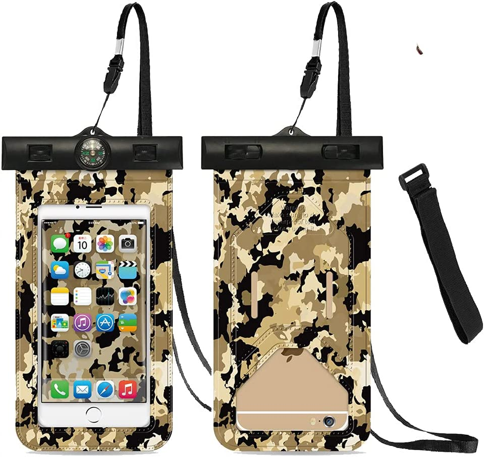 Universal Waterproof Case, Camouflage Waterproof Pouch Cellphone Dry Bag with Armband and Compass for iPhone 12/12 Pro Max/11/11 Pro/SE/Xs Max/XR/8P/7 Galaxy S20/S10 Note Google Up to 6.7