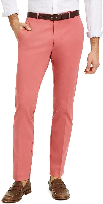 Tommy Hilfiger Mens Pink Regular Fit Stretch Pants 33W/ 30L