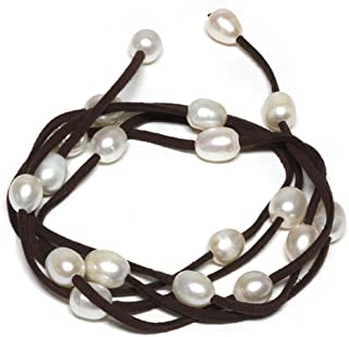48 Inch White Cultured Freshwater Pearl on Brown Leather Wrap Bracelet/Necklace