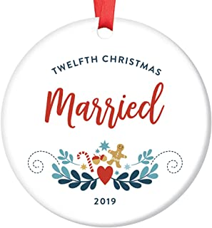 12th Christmas Married Ornament Husband & Wife Twelfth Anniversary 2019 Dated Gift Idea 12 Years Together Gay Lesbian Life Partners Holiday Keepsake 3