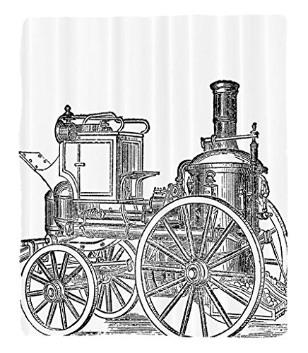 Chaoran 1 Fleece Blanket on Amazon Super Silky Soft All Season Super Plush Steam Engine etOld Fireman Truck Drawing Effect Picture British Antique Transportation Print Fabric Decor Extra
