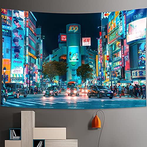 PPOU Tapiz de Vida Nocturna de la Ciudad de Osaka, decoración del hogar, Estilo Bohemio, Manta Estampada Hippie, Tela Colgante A4 180x200cm
