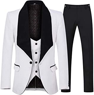 YFFUSHI Men`s 3 Piece Suit Slim Fit Jacquard Tuxedo One Button Shawl Collar Jacket Vest & Trousers