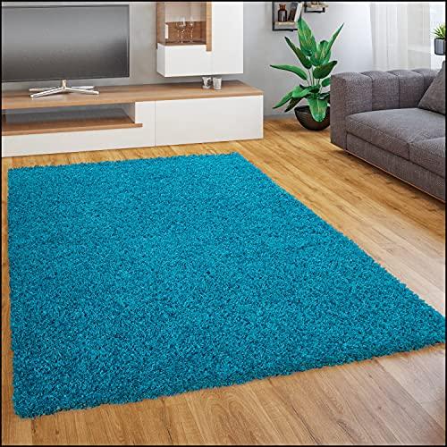 Paco Home Tapis Shaggy Longues Mèches en Différentes Tailles Et Coloris, Dimension:120x170 cm, Couleur:Turquoise