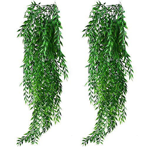 KingYH 2 Pack Artificial Hanging Plants Garland Fake Willow Leaves Ivy Vine Plastic Trailing Weeping Greenery Drooping Plant for Wall Indoor Outside Garden Wedding Hanging Pot Basket Décor