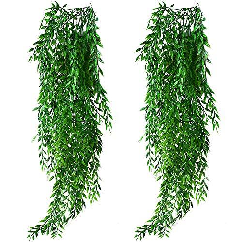 KingYH 2 Stück Künstliche Hängende Pflanzen Weidenblätter Plastikpflanzen Künstlich Efeugirlande für Draussen Innen Äußer Balkon Wand Topf Hochzeit Garten Deko