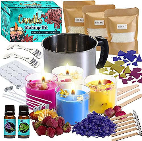 Candle Making Kit with Glass Jars & Dried Flowers | 2 Pack Soy Wax (7oz Each), 1 Pack Beeswax (7oz) Flakes, Melting Pot, Scented Essential Oils & More | DIY Starter Kit for Adults and Beginners
