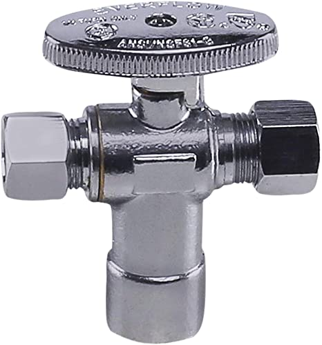 new arrival Midline Valve 86312QS-OM Water Supply Angle Stop Valve; Dual Outlet; new arrival Quarter Turn Wheel; One Piece; for Toilet, Sink, Dishwasher; 1/2 in. Sweat x wholesale 3/8 in. COMP x 1/4 in. COMP; Chrome Plated Brass online