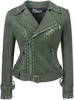 DISSA P170 Women Faux Leather Biker Jacket Slim Coat Leather Jacket