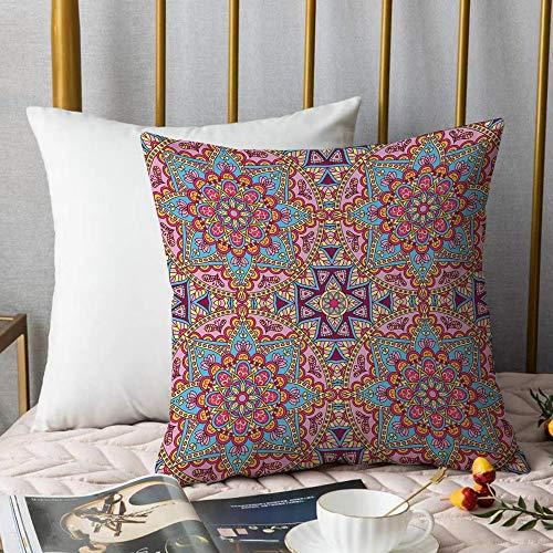 Bedding Fundas de Almohada ,Mandala morado, estilo hippie arabesco auténtico oriental en tonos vivos marroquíes Artsy MotiAlmohada cómodo Sofá rectángulo Funda de Cojín Decoración para El Hogar45x45cm