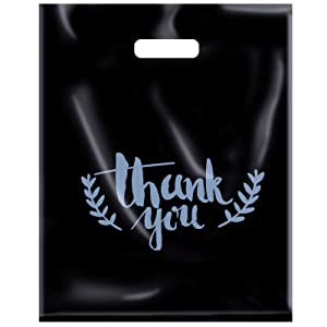 Thank You Bags for Business, 100 Pack 12x15 Bulk Plastic Merchandise Bags for Packaging Products Extra Thick 2.76 Mil Shopping Bags for Boutique Small Gift Bags for Retail Wholesale (BK)