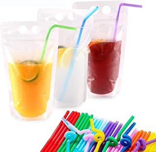 Plastic Drink Pouches with Straws 50 Pack Drink Bags Container 17oz Handheld Translucent Disposable Drinkware W/Gusset Bot...