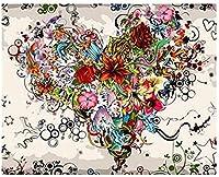 子供と大人のためのDIY油絵キットキットの数字でペイントフラワーラブ40x50cm(フレームなし)ホームリビングルームウォールアート装飾画