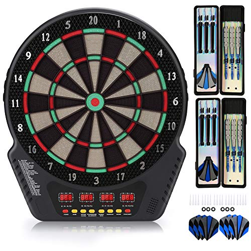 "Biange Electronic Dart Board, Dartboard Set 13.5"" Target Area Digital Soft Tip Dartboards 27 Games and 243 Variants with 6 18g Darts, 4 LED Displays, Spare Tips, Flights Support up to 16 Players"