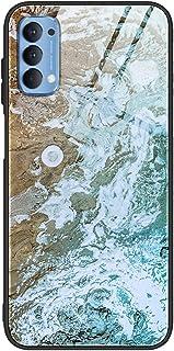 جراب خلفي لهاتف Oppo Reno 4 بنمط رخامي من الزجاج المقوى Reno4 - متعدد الألوان