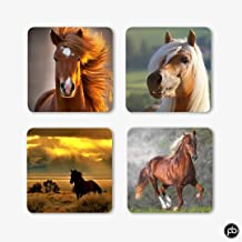 PrintBharat Printed Wooden Coasters Set of 4 (4 inch x 4 inch)| Unique for Gift and Home and Office Animal | Horse