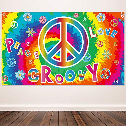 60 Jahre Karneval Dekoration Banner Hippie Thema Party Fotografie Hintergrund 60 Jahre Party Szene Setter Wand Dekoration Kit Frieden und Liebe für Große Party Lieferungen 72,8 x 43,3 Zoll