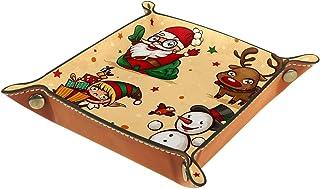 ATOMO Plateau de rangement en cuir vintage avec motif Père Noël, bonhomme de neige, cerf, élan, clé, bijoux, pièces de mon...