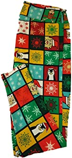 TC2 Christmas Holiday Penguin Snowflake Elf Black Red Green White Polka Dot Leggings fits Adult Sizes 18+