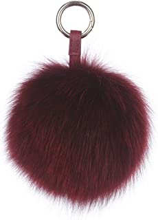Ferand Genuine Fox Fur Pom Pom Keychain Womens Bag Charm Fluffy Fur Ball