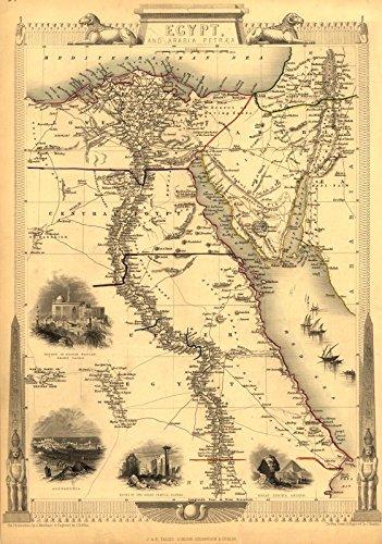 Antike Karte von Ägypten und Arabia Petrae, mit Mittelmeer und Totem Meer (im Norden) und Unter-, Mittel- und Oberägypten (im Süden) und Arabien (im Osten), Reproduktion von J & F Tallis von 1850, A3, ca. 47 x 33 cm