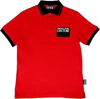 Jeans Couture Red 100% Cotton Short Sleeve Polo Shirt- for Mens