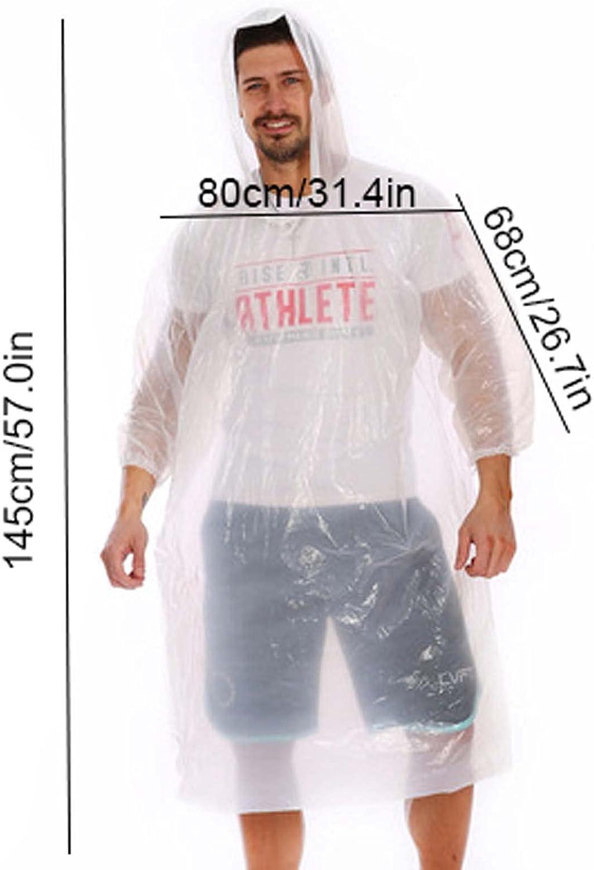 FHGH Disposable Adult Long Raincoat, Thicken PE Hooded Rain Poncho, Portable Foldable Rainjackets,F,Medium