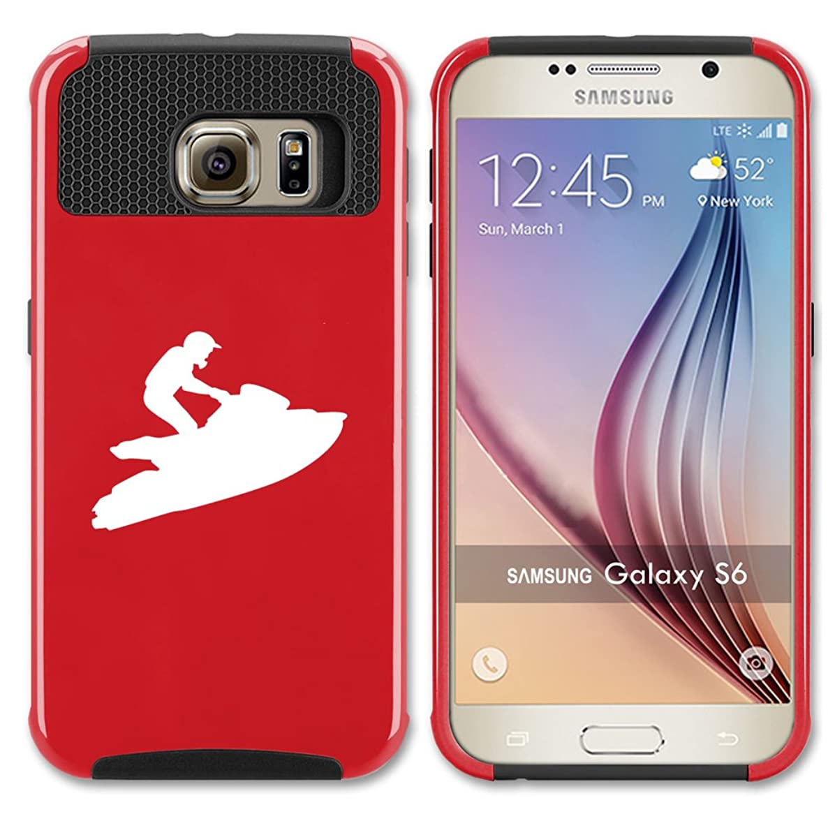 For Samsung Galaxy (S7 Edge) Shockproof Impact Hard Soft Case Cover Jet Ski (Red)