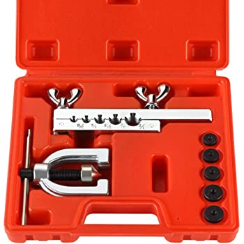 Wostore Auto Double Flaring Tool Kit Copper Aluminum Soft Steel Brake Line and Brass Tubing Tools 45 Degree Flares