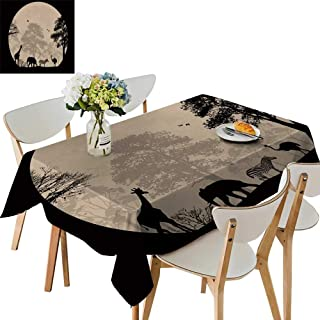 UHOO2018 Square/Rectangle Indoor and Outdoor Tablecloth wil imals in Front a Full Moon Restaurant Party,52 x 526inch
