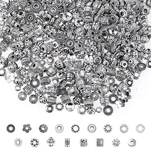 Silver Spacer Beads Cridoz 900Pcs 17 Style Spacer Beads for Jewelry Making Bracelet Necklace product image
