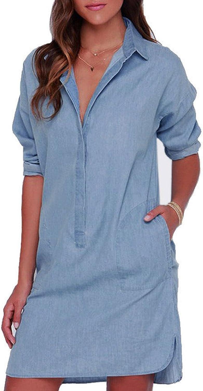 Generic Nupron Women Sexy Washed Denim Buttons Shirt Long Sleeves Loose Cowboy Dress