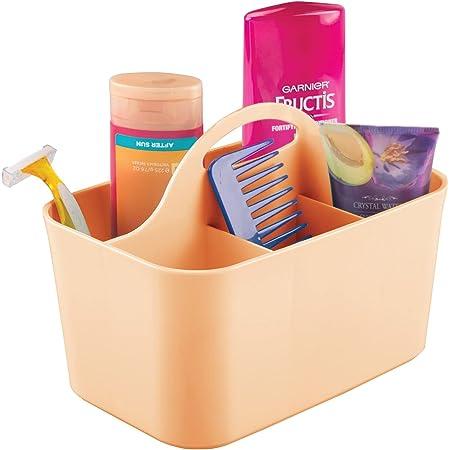 mDesign panier de salle de bain à poignée en plastique – rangement cosmétiques, cuisine ou range-torchons – petite boîte de rangement – couleur pêche