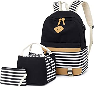 Canvas Backpack College Womens Laptop Backpack 15.6 inch USB Daypack Teen Girls School Backpack with USB Port