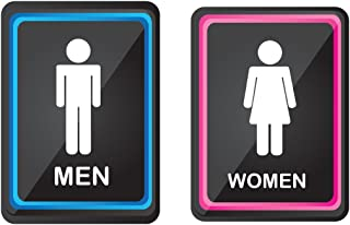 """2 pack Bathroom Signs, Elegant and modern Restroom Signage for Office, Restaurant Night club or any Store – 6"""" x 8"""" With disable icon."""